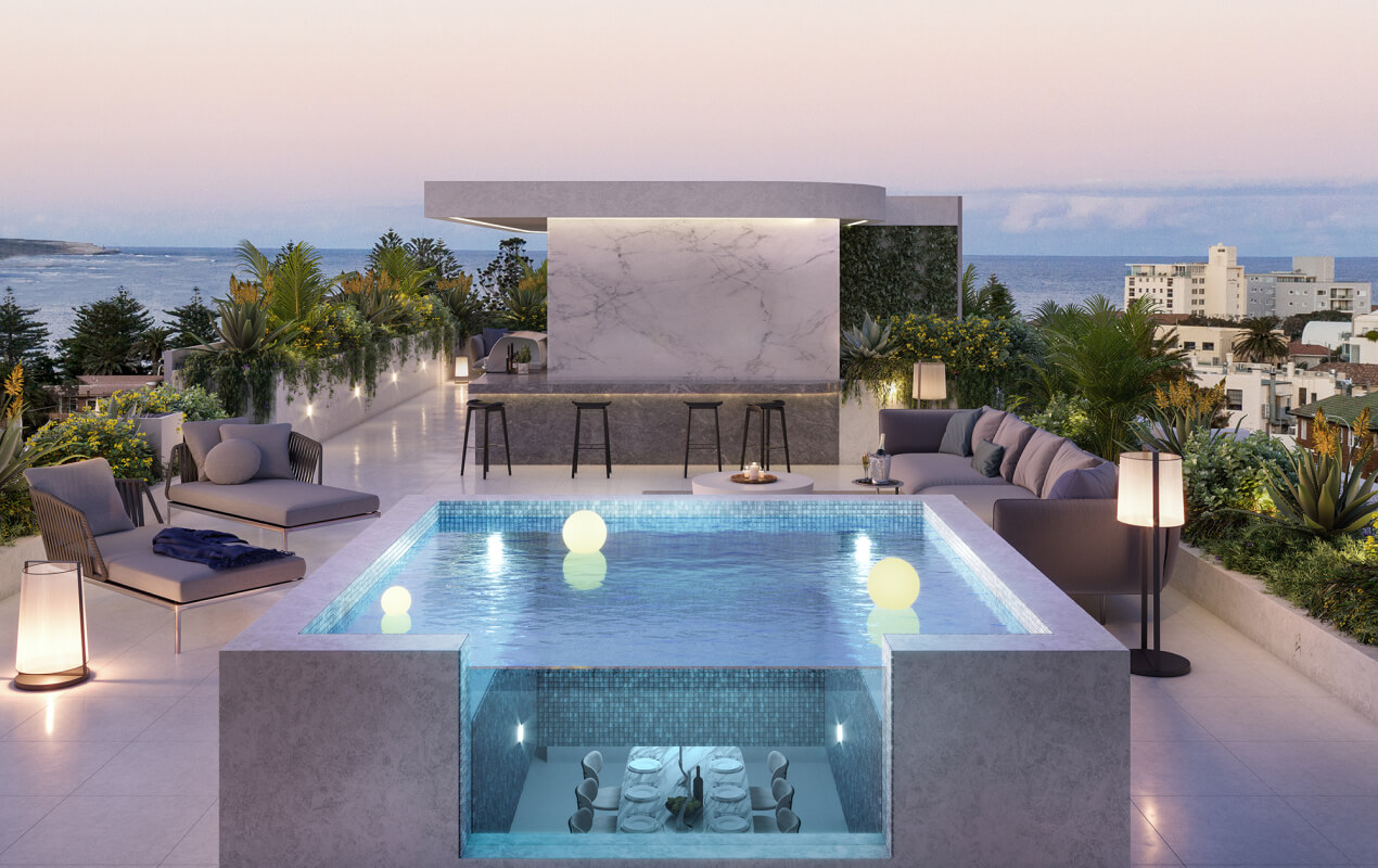 Penthouse ceiling pool feature in Sydney